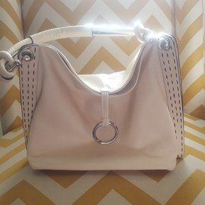 BCBG Maxazria Creme Leather Fold Over Handbag